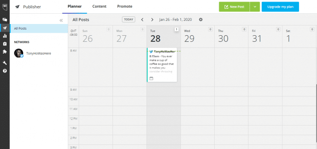 Scheduled Tweets as they appear in Hootsuite Planner