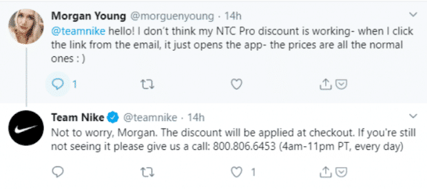 Nike response to customer request on Twitter