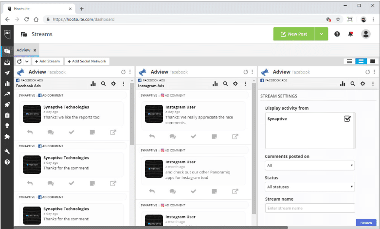 AdView social listening tool in the Hootsuite dashboard