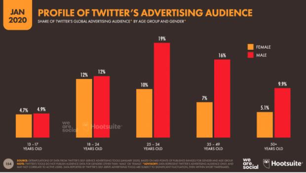 Graphique: Profil de l'audience publicitaire de Twitter