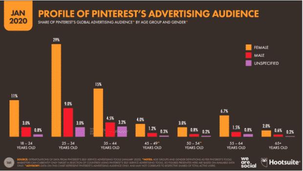 Graphique: Profil de l'audience publicitaire de Pinterest