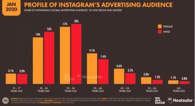Graphique: Profil de l'audience publicitaire d'Instagram