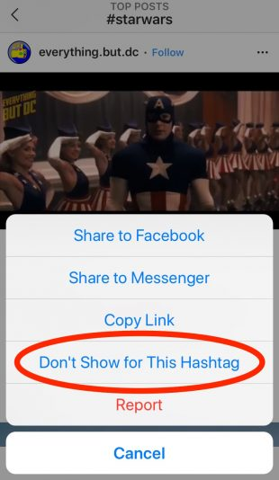 "Instagram's ""Don't Show for This Hashtag"" button"