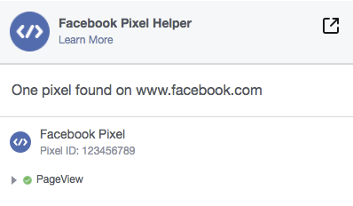 Facebook Pixel Helper screen