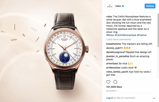 Rolex Instagram post with three tastefully chosen hashtags