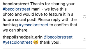 Color Street asks Instagram user if they can share their content on their feed