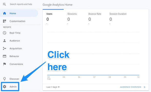 Admin button in Google Analytics home