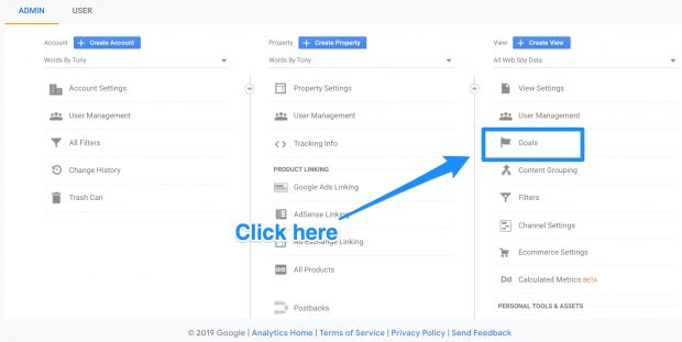 """Goals"" button in Google Analytics admin dashboard"
