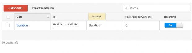 Completed goal set up view in Google Analytics