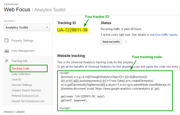 Window showing a Google Analytics tracking code