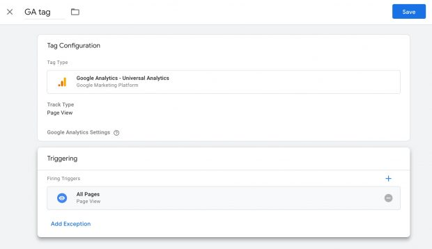 new tag configuration screen in Google Analytics