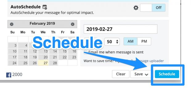 Schedule button on Hootsuite
