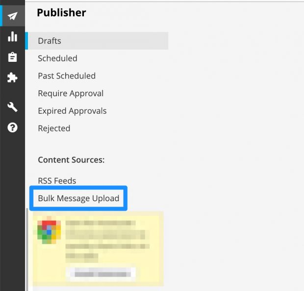 Bulk message upload option on Hootsuite