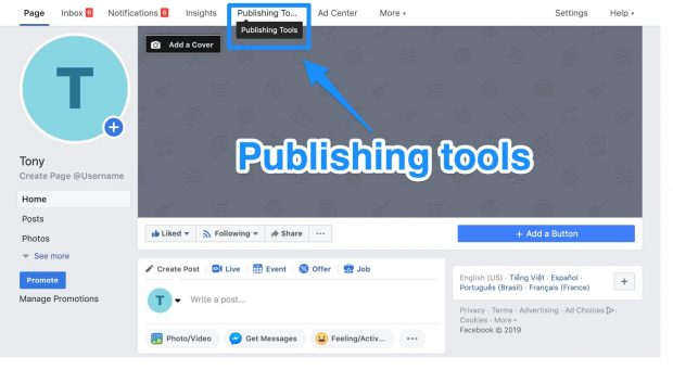 Publishing tools option on Facebook