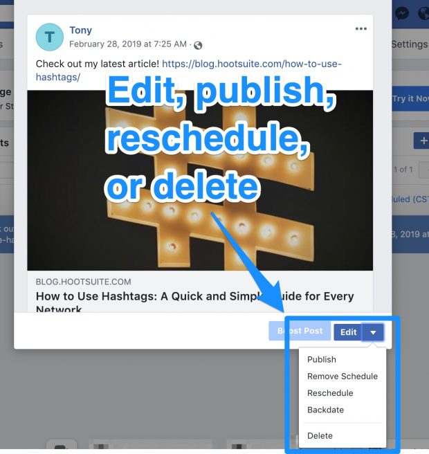 Option to edit, publish, schedule, or delete Facebook post