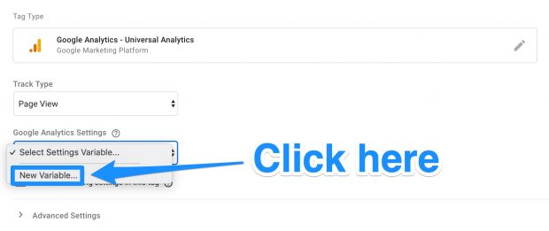 New Variable option in Google Analytics setup