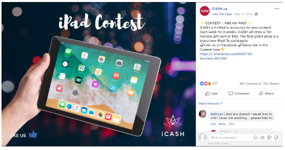Facebook contest by icash.ca