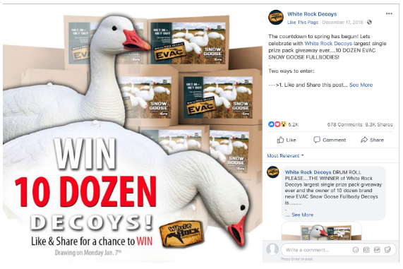 facebook contest by White Rock Decoys