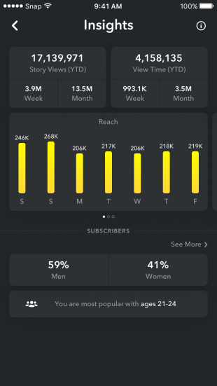 Snapchat Analytics overview screen