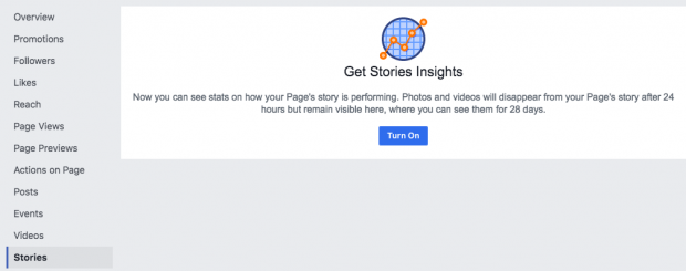 Option to turn reporting on for Facebook Stories