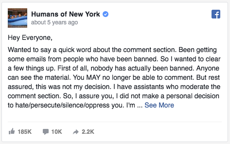 Humans of New York Facebook post about trolls