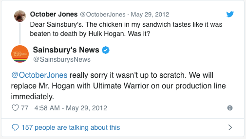 Sainsbury tweet responding to a negative comment with humor