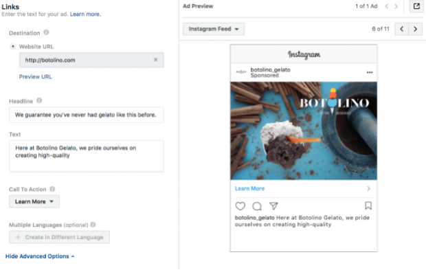Instagram ad call-to-action