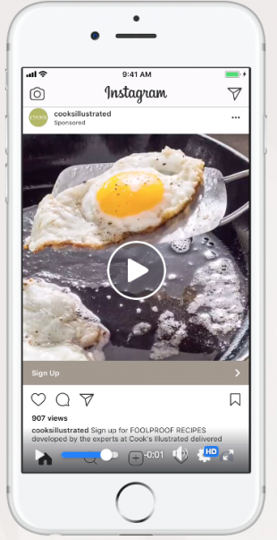 Annonce vidéo Instagram de Cooks Illustrated