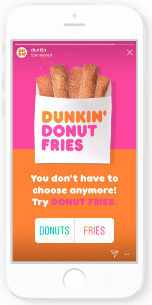 Instagram Stories ad by Dunkin'