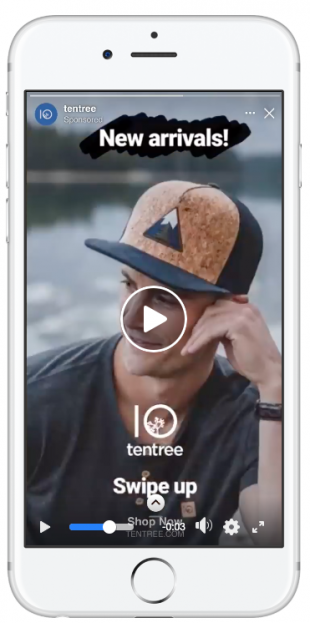 Histoires Facebook annonce Tentree