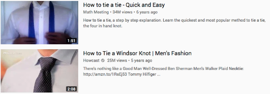 youtube video descriptions for how to tie a tie