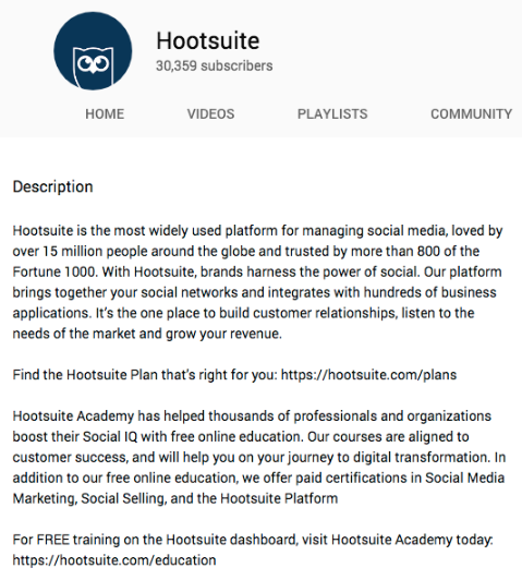 Hootsuite youtube video description