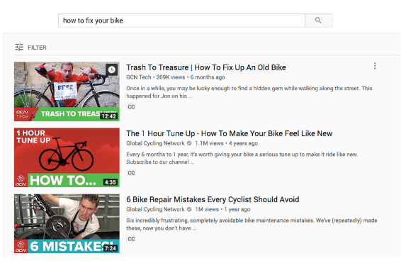 "YouTube video descriptions for search term ""how to fix a bike"""