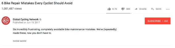 "youtube video description for ""6 Bike Repair Mistakes Every Cyclist Should Avoid"""