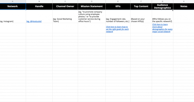 Screenshot of the social media audit template