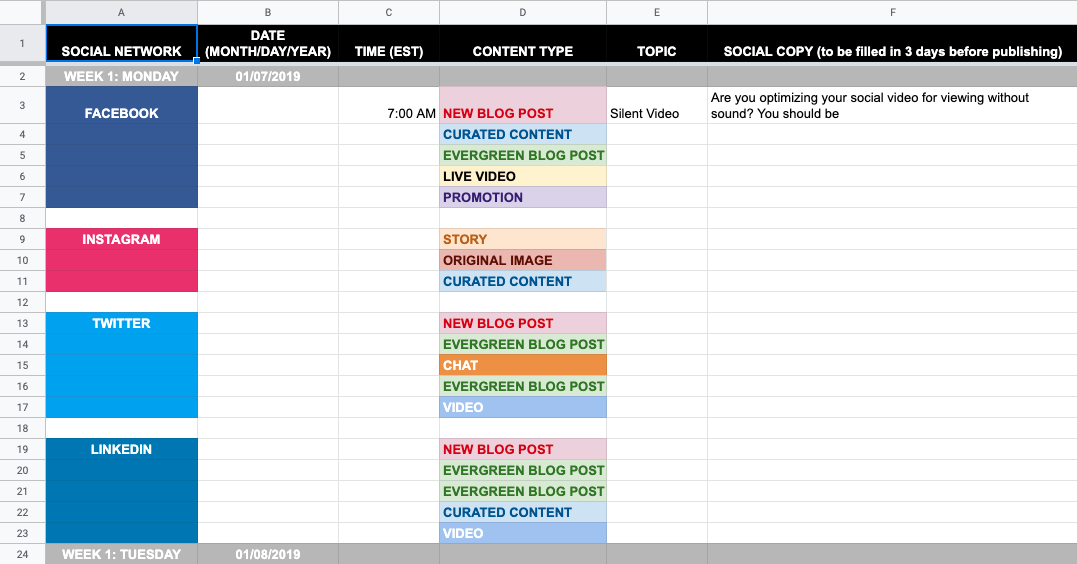 screenshot of the social media calendar template