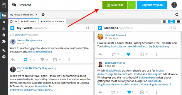 New post button in Hootsuite