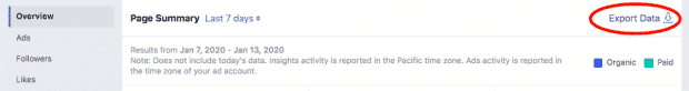 "Screenshot showing button to ""export data"" in Facebook analytics"