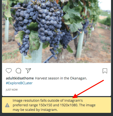 Instagram image error message