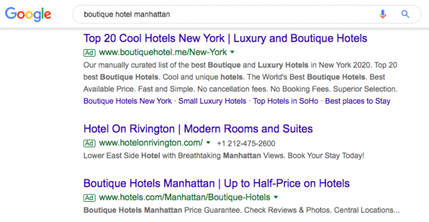 "Screenshot of Google search results for ""boutique hotel manhattan"""