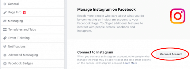 Button to Connect to Instagram in Facebook