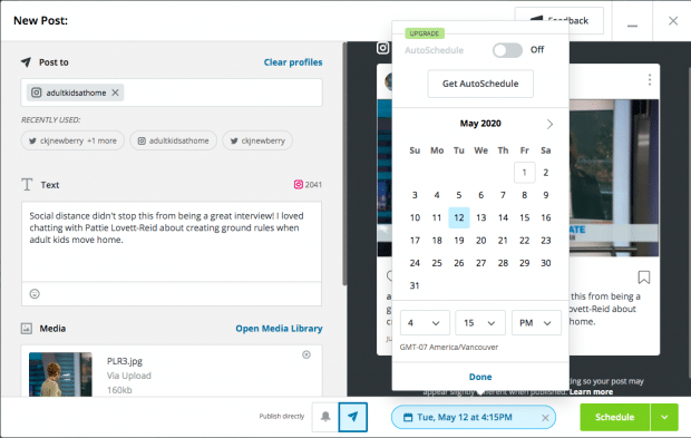Hootsuite Autoschedule option