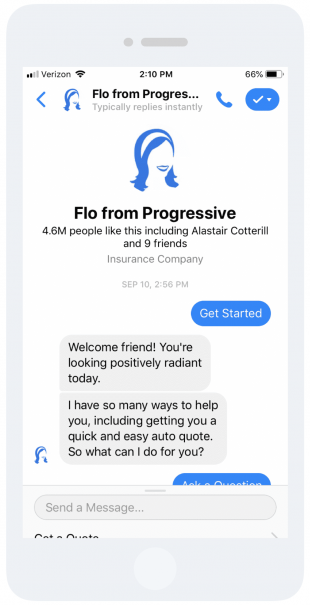 "Message from ""Flo from Progressive"" in extremely positive tone"