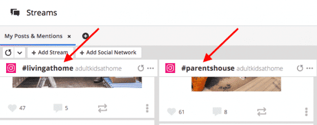 Instagram hashtag search streams in Hootsuite