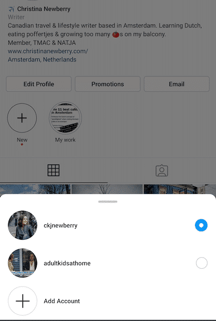 Instagram account picker
