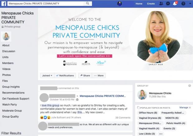 Image du groupe Facebook privé de Menopause Chicks