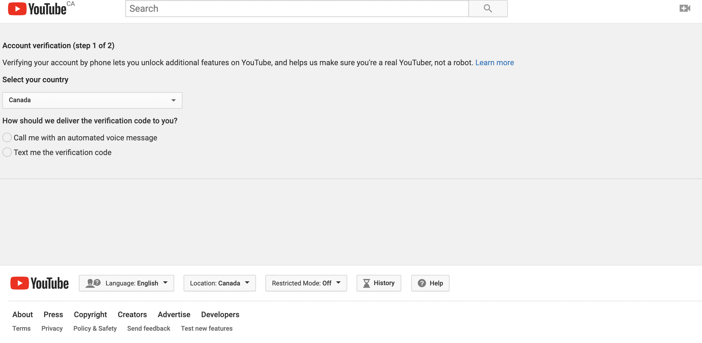 YouTube verification process step 1 of 2: Select your country