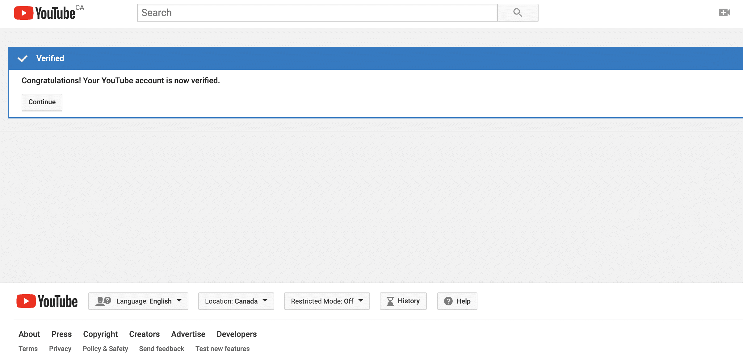 YouTube verification success screen