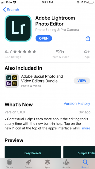 lightroom app in app store