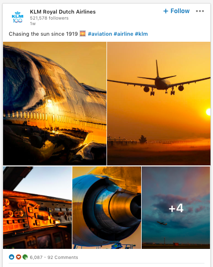 KLM LinkedIn post using aviation hashtag